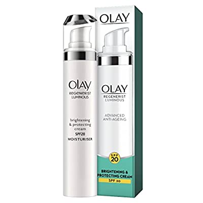 Olay Regenerist Luminous Anti-Ageing Brightening and Protecting Cream with SPF20, Niacinamide, 50 ml, for Even Skin Tone and UVA/UVB Protection