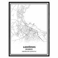 リードショーピングスウェーデン地図ウォールアートキャンバス印刷ポスター アートワークフレームなし地図お土産贈り物室内装飾