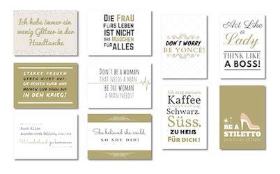 10 Postkarten Set Thema Frauen Motivation & Selbstbewusstsein | edle Postkarten mit schönen Sprüchen für Freundin als persönliches Geschenk | Wildpony.shop Kollektion DIVA