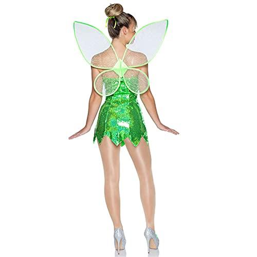 Disfraz de hada del bosque sexy de color sólido con lentejuelas, vestido corto, disfraz de Halloween princesa Cosplay con alas, verde oscuro, Small