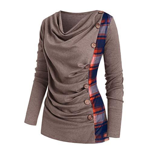 VEMOW Herbst Winter Elegante Damen Frauen Langarm Hoodies mit Knopf Gedruckt Lässig Täglichen Sport Outdoors Hoodies Herbst Sweatshirt(X2-a-Blau, 52 DE / 5XL CN)