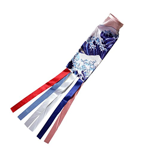 LOVIVER Japanische Koi-Fahne aus Satin Material, Wand Hintergrund Deko Koinobori Japanese Style Windsäcke Restaurant Flagge - # 2, 70cm