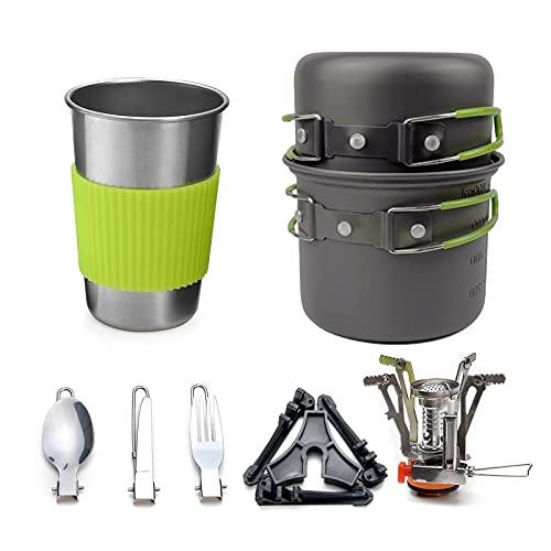 SHANG-JUN Utensilios de Cocina de Camping Juego de Utensilios de Cocina al Aire Libre 1-2 Personas Camping Estufa Set Pot Portable Estufa Vajilla Conjunto de Cocina de Camping (Color : Green)