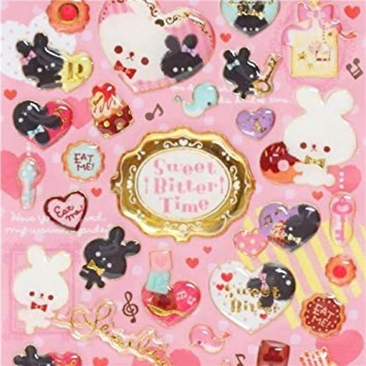Kawaii Hard 3D Stickers with Heart Rabbit gold Metallic Embellishment Japan