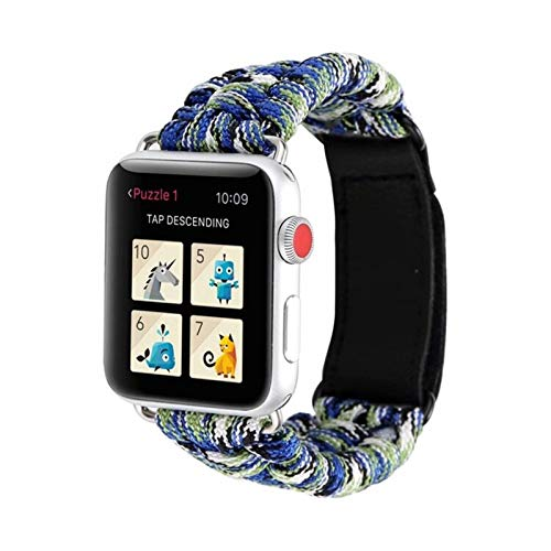 YGGFA De IWatch Pulsera Series IWATCH Aire Libre Survival Correa Cuerda for IWATCH Band 44 Mm 40 mm 42 mm 38 mm de Cuero 5 4 3 2 1 44 mm (Band Color : Starry Color, Band Width : 42mm or 44mm)