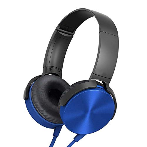 Modish Super Extra Bass Wired Headphone with Mic On-Ear-Headphone and Compatible with All Mobiles & Desktop - Blue