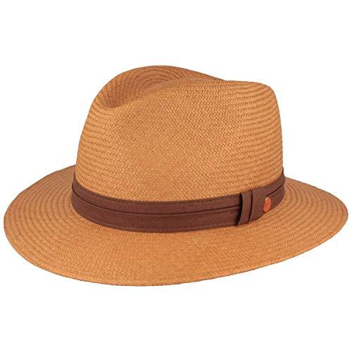 Mayser Sombrero original Panama   Sombrero de paja   Sombrero de verano de Ecuador – Tradicional tejido a mano con banda para el sudor forrada, protección contra roturas marrón 58