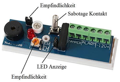 Erschütterungssensor 12V mit Alarmkontakt und Sabotage Kontakt Schlagsensor Vibrationssensor