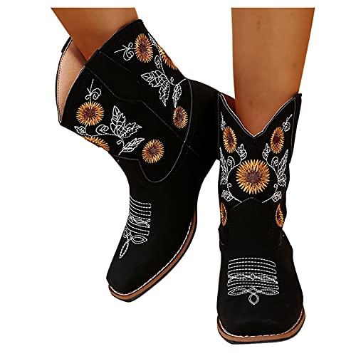 Dwevkeful Damen Kurze Stiefel Bestickte Ankle Boots Bunte Patchwork Stiefeletten Schlupfstiefel Sockenstiefel Reißverschluss Gestickte Stiefeletten Freizeitschuhe