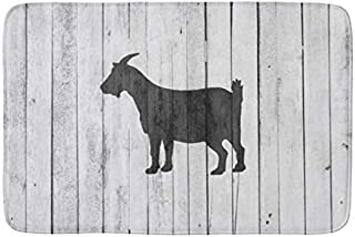 Aomsnet Rustic Farmhouse Goat Wood Panel Bathroom Decor Mat, Shower Rug Mat Water Absorbent Fast Drying Kitchen, Bedroom, Hotel, Spa Tub.30 L X 18
