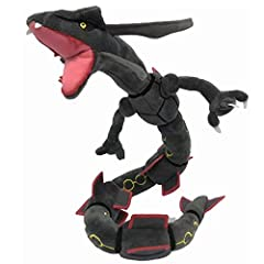 Rayquaza is about 32 Inch length with black color, Its look like Snake, Its body can be put into other shapes Material is Cotton Fabrics & Plush, Recommended age 3 and up It is Super Nice gift for Fans, Suitable for Christmas and Birthdays gifts Note...