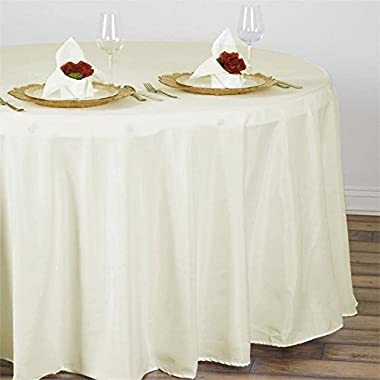 BalsaCircle 108-Inch Ivory Round Polyester Tablecloth Table Cover Linens Wedding Party Events Kitchen Dining