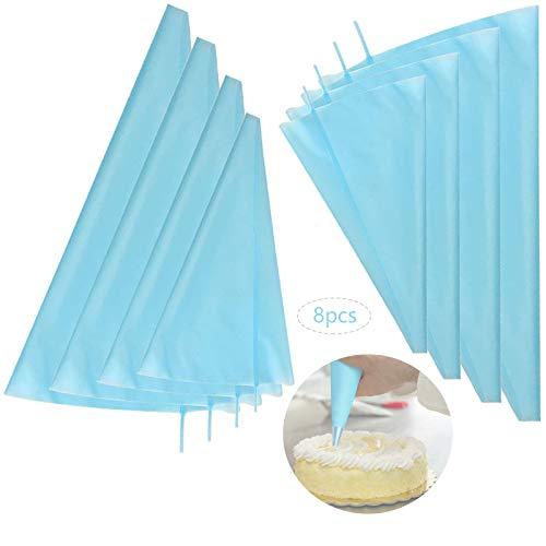 Manga Pastelera Azul Bolsas de Pastelería Reutilizables Unidades de Kit de Decoración para Tartas Bolsas Pastelería Mangas Consejos para Decoración de Tartas Manga pastelera de silicona (8 pie