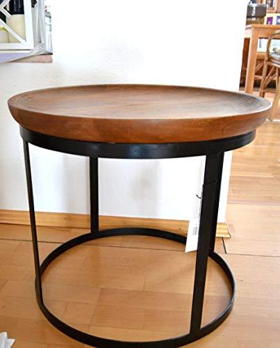 Maison en France Tisch- Beistelltisch-Couchtisch-sehr Stabiler schicker Mango-Vollholz-Tisch- Natur-Durchmesser 45 cm