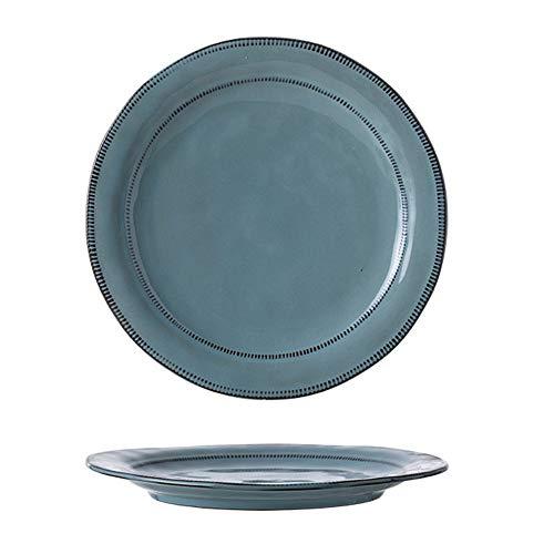 YLMF Plato de cena de cerámica simple Retro, no se decolora, resistente a altas temperaturas, apto para lavavajillas, color verde 11 pulgadas