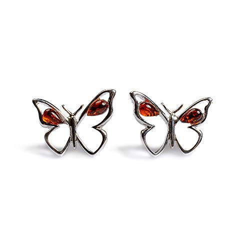 Classsic Baltic Cognac Amber and Silver Butterfly Stud Earrings