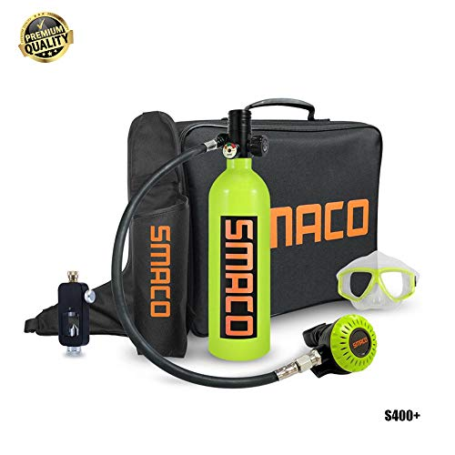 XuangXin Mini Scuba Oxygen Cylinder, S400+ 1L Dive Equipment Packages, Diving Tank Equipment with 15-20 Mins Capability, Portable Oxygen Tank for Underwater Diving Breathe Training,Green
