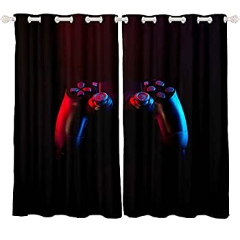Feelyou Gaming Curtains for Boys Bedroom Kids Gamer Room Decor Curtain 42W x 63L Inches Teens Black and Red Video Game Controller Window Treatments Drapes with Grommets 2 Panels Set
