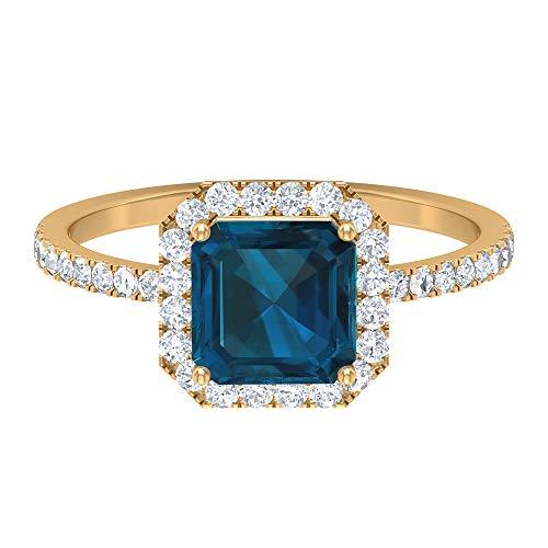 Asscher Cut Ring Solitär Versprechen Ring 2,53 ct Edelsteine D-VSSI Moissanit 7 mm London Blautopas Ring Gold Halo Ring mit Seitenstein Ring, 18K Gelbes Gold, Size:EU 44