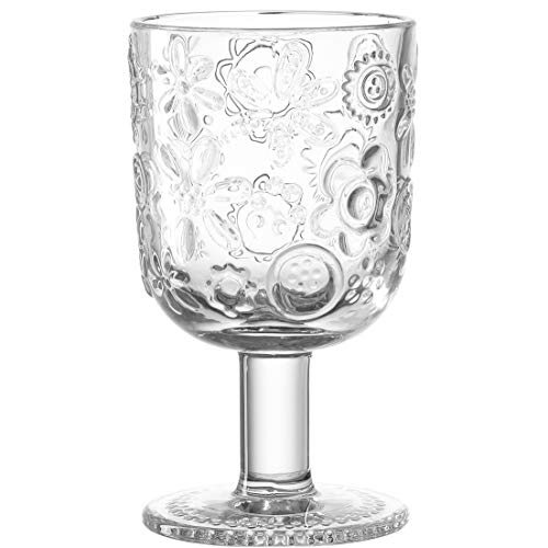 Leonardo Fiorita Trink-Gläser 6er Set, Trink-Becher aus Glas, Kelch-Gläser mit floralem Muster, Wasser-Gläser auf Fuß, Saft-Gläser 330 ml, 037797