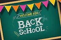 Assanu 学校に戻る背景7x5ftビニール写真の背景ようこそ子供たちは学校に戻る黒板チョークレター学習ツールスクール教室黒板フラグバナー装飾学生
