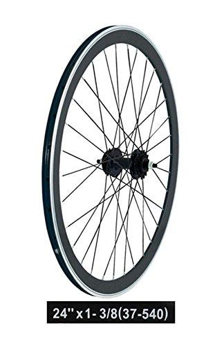RMS Coppia Ruote Bicicletta 24 x 1-3/8 Alto Profilo Nero (Scatto Fisso) / Wheelset Bike 24 x 1-3/8 Fixed Gear Black (Fixed Wheel)
