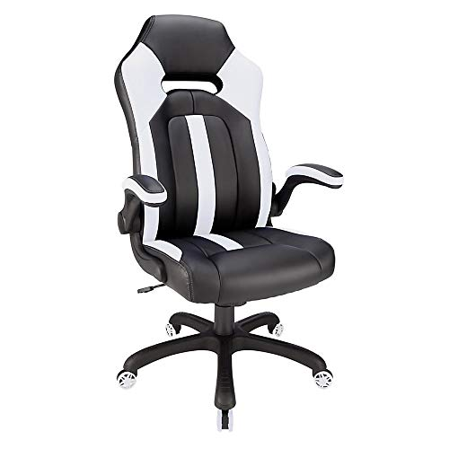 Realspace Bonded Leather High-Back Gaming Chair, Black/White black chair gaming