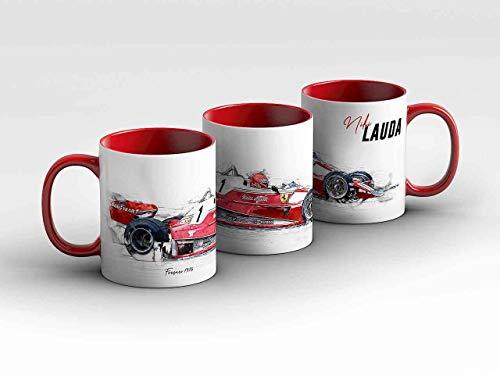 gasoline.gallery Formel 1 Tasse - Niki Lauda - Scuderia Ferrari - 1976 - Silhouette rot Kaffeebecher