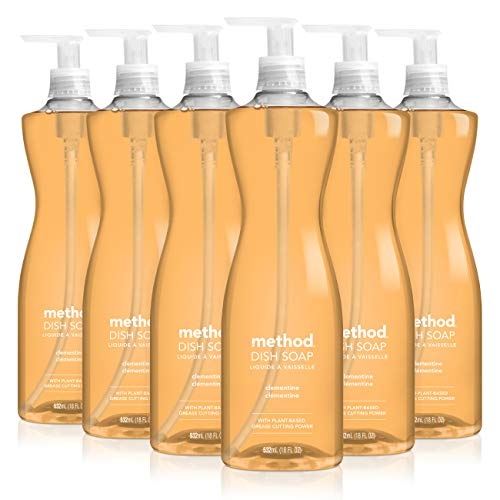 Method Clementine Dish Soap, Pump Bottles, 18 Fl Oz, Pack of 6