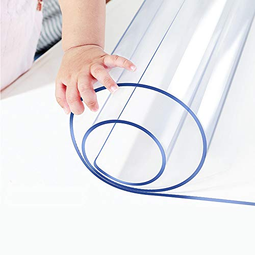 1.5mm Thick Custom Multisize Clear PVC Table Cover Protector 16x48 Inch Rectangular Plastic Table Cover Desk Pad Mat Table Cloth for Office Computer Desk Sofa End Side Bedside Table Media Night Stand