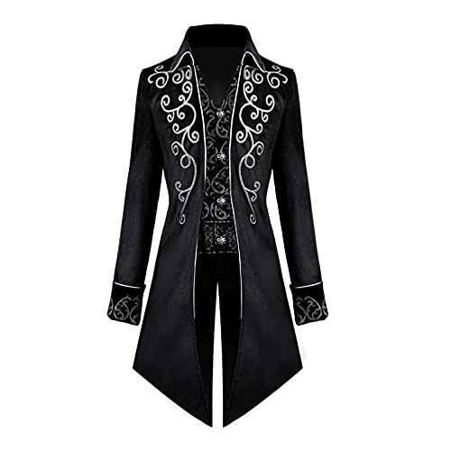 WRNM Steampunk Vintage Tailcoat Chaqueta Gtico Victorian Frock Coat Uniforme Disfraz de Halloween, Negro, XL