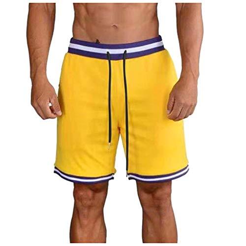 Overdose Pantalones Deportivos para Hombres Culturismo Casual Pantalones Cortos de Cintura Flexible de Bolsillo Puro