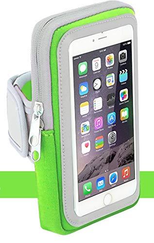 Sport-Armband Oberarm Tasche passend für Motorola Moto One Macro/Zoom/X Force/X Style / X4 Handy Halterung Fitness-Hülle, Tasche mit großem Fach Jogging, Dealbude24 Arm-Tasche Groß Grün