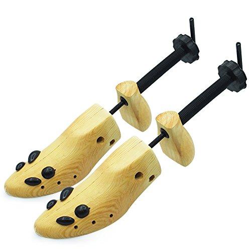 Wooden Shoe Stretcher Adjustable 2-Way Shoe Trees For Men & Women,Set of 2, L [ EUR 40--46 ], Yellow