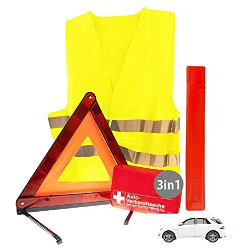 3in1 Sicherheit & Erste Hilfe Set Auto 2021 | Notfallset mit Warndreieck Pannenweste Verbandkasten | KFZ Pannenset Pannenhilfe & Unfall Zubehör Set | Sicherheits-Set Auto 2021 ideal als Starter Set
