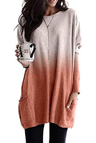 Vrouwen Long Sleeve Pocket Classic Blouse Crew Neck Top T Shirts