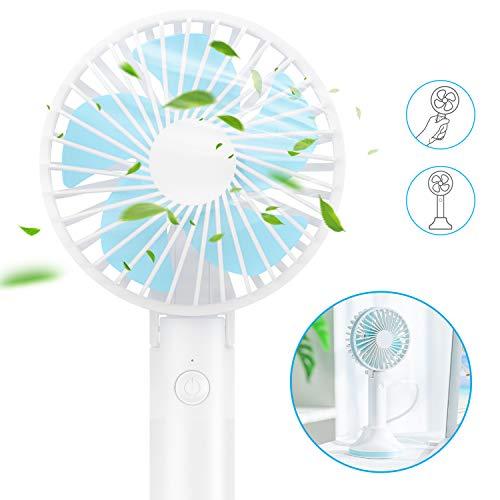 andobil Mini Ventilator, Mini Fan Battery 2-1 Handventilator und Tischventilatoren, 3 Modus für Büro, Arbeitszimmer, Camping oder Reise usw. (blau)