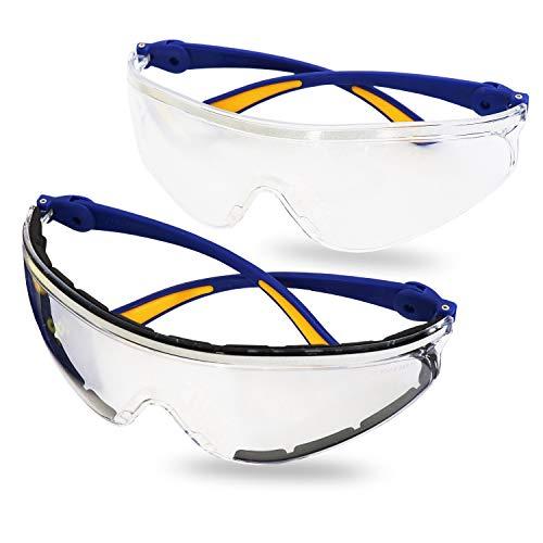 S&R Gafas protectoras Gafas de segurida Trabajo. Lentes de policarbonato transparente. Anti-rayas y anti-UV - 2 piezas
