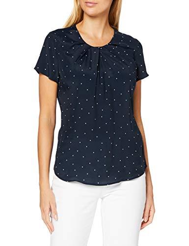 Seidensticker Damen Shirtbluse Kurzarm gepunktet Bluse – Fashion Bluse, blau-weiß, 40