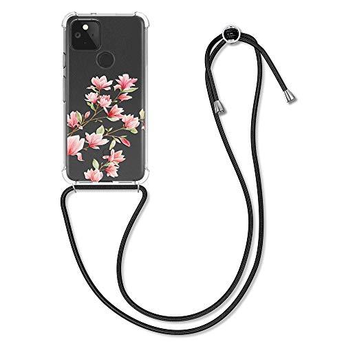 kwmobile Schutzhülle kompatibel mit Google Pixel 5 - Hülle mit Kordel zum Umhängen - Silikon Handy Hülle Magnolien Rosa Weiß Transparent