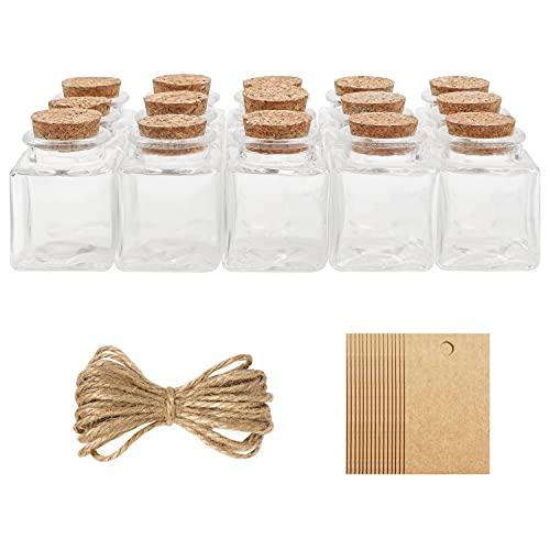 Belle Vous Mini Botellas de Cristal con Tapas de Corcho, Etiqueta y Cordel (Pack de 15) 50...