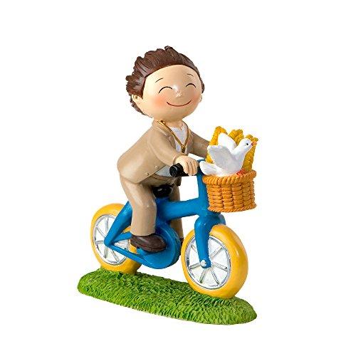 Mopec Figura de Pastel de Niño en Bicicleta, Poliresina, Marrón, 4.09x13.7x16 cm