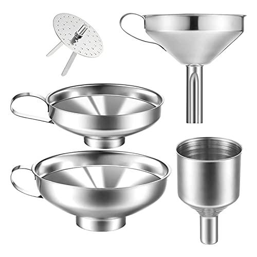 PJRYC El Embudo de Cocina de Acero Inoxidable de 4 Piezas es Adecuado para la Transferencia de Tarro de Acero de la Botella de Vidrio (Color : Silver)