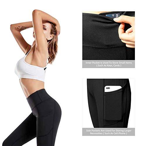 RINOZO Yoga Pants for Women Leggings Womens with Pockets High Waist Gym Legging Sports Workout Running Leggings Butt Lift Black