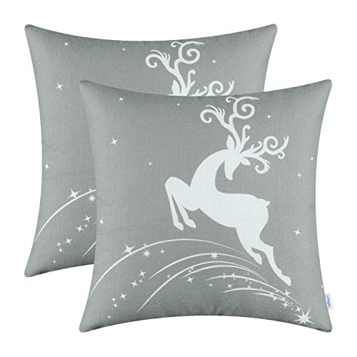 CaliTime Pack of 2 Soft Canvas Throw Pillow Covers Cases for Couch Sofa Home Decoration Christmas Holiday Reindeer Jump with Stars Print 20 X 20 Inches Medium Grey