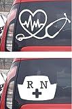 Nurse Stethoscope Heartbeat Decal 4.2'W + Registered Nurse Cap 5.5'W Decal Sticker for Laptop Skin MacBook Trackpad Keypad Cars Trucks Vans SUV's Windows Walls Cups + Golden Nurse Cap Decal