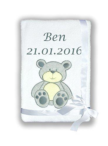 Amilian® Kuschlige Babydecke SUPER FLAUSCHIG mit Namen und Datum bestickt Kinderdecke (B7)