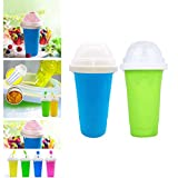 DIY Slushie Maker Cup, Magic Quick Frozen Smoothies Cup Cooling Cup Double Layer Squeeze Cup Slushy Maker, Homemade Milk Shake Ice Cream Maker DIY it for Children and Family Ice Cup (AB)