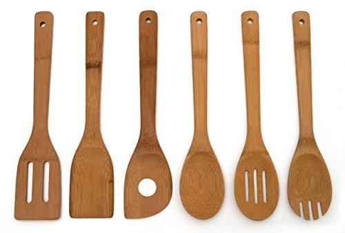 Lipper International 826 Bamboo Wood Kitchen Tools in Mesh Bag, 6-Piece Set