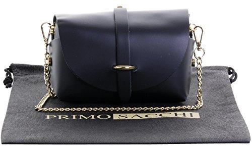 Primo Sacchi Ladies Italian Leather Mini Small Micro Black Shoulder Crossbody Evening Bag With Metal Chain Strap